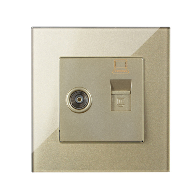 MVAVA Computer Data+TV Receptacle RJ45 Data Outlet Internet Jack Plug Wall Socket Luxury Gold Crysral Glass Free Shipping