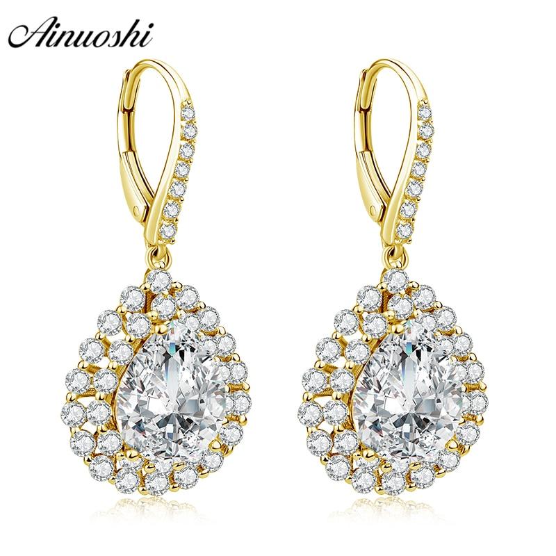 AINUOSHI 10K Solid Yellow Gold Drop Earring SONA Diamond 6ct Pear Cut Click Back Earring Women Jewelry Gift Droplet Halo Earring