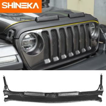 SHINEKA Car Cover for Jeep Wrangler JL 2018+ Black PU leather Engine Cover Front Hood Protector Accessories For Jeep Wrangler JL shineka car sticker for jeep wrangler jl accessories rearview mirror carbon fiber chrome decoration sticker for wrangler 2018