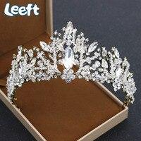 Vintage White Crystal Bridal Korony Tiary Liść Biżuteria Do Włosów Ślubne Akcesoria Do Włosów Panny Młodej Kobiety Barokowe Korony noiva A49