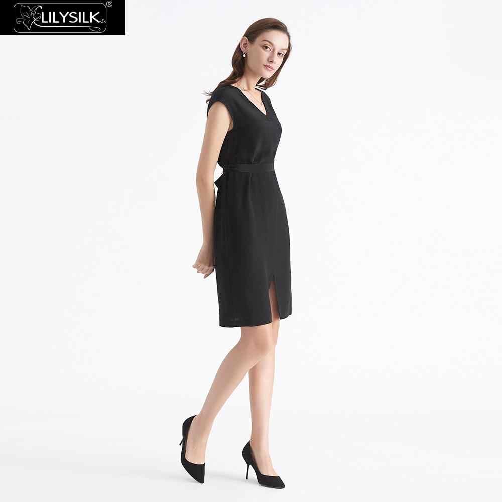 LilySilk 100 Vestito di Seta Little Black Dress Reale Naturale di Base Da Indossare Donne Eleganti Signore di Lusso Anteriore e Posteriore