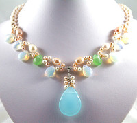 925 silver charm white pearl& moonstone/blue GEM STONG bead necklace pendant