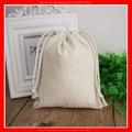 (100 pçs/lote) tamanho 15x21 cm logotipo personalizado em branco saco de cordão de algodão