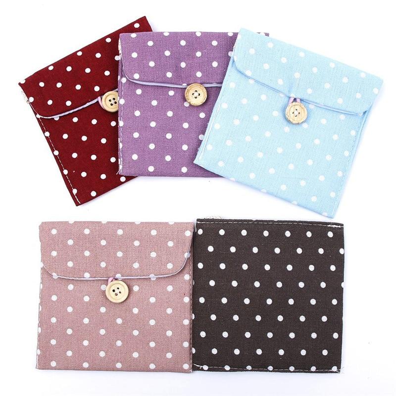 1PC Women Portable Hygiene Sanitary Napkins Travel Accessories Tampon Bag Lovely Polka Dot Bag Storage Organizer