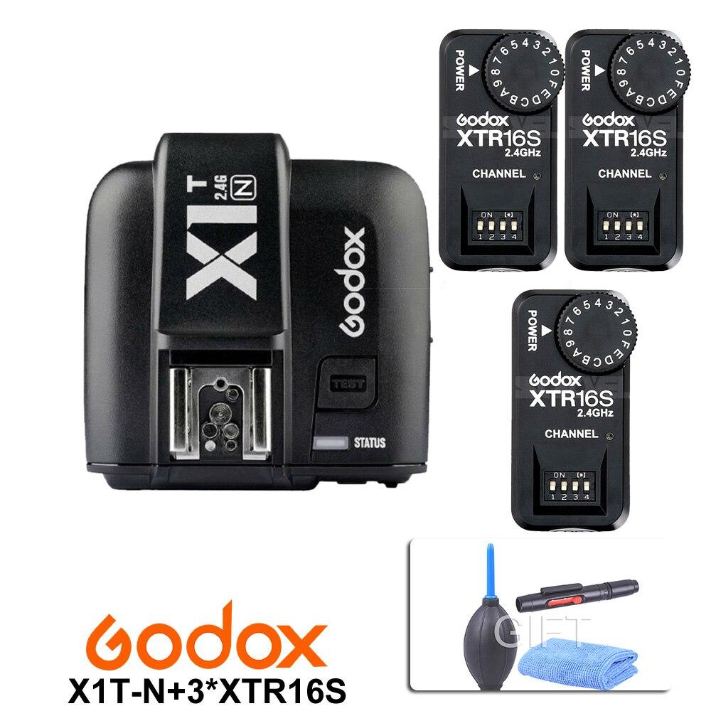 Flash para Godox Gatilho sem Fio para Nikon + 3x Godox Receptor V850 V860iic – f V860c n V850ii Velocidadelite Ttl 2.4g X1t-n Xtr-16s