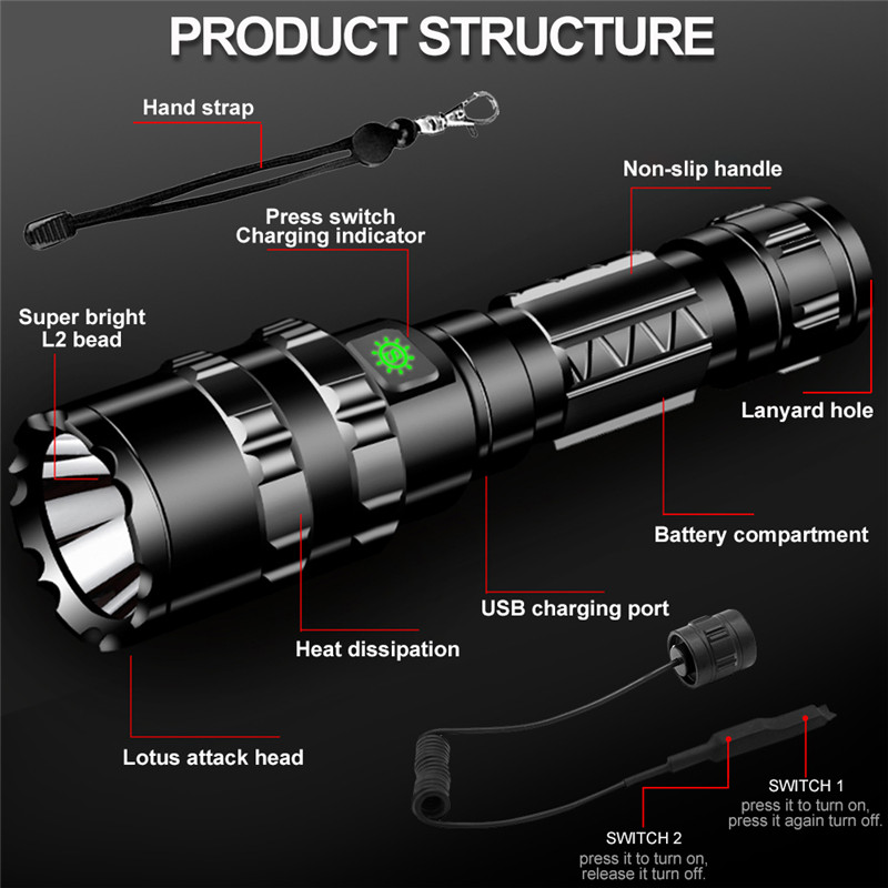 60000Lums Tactical LED Flashlight Ultra Bright L2 Hunting light USB Rechargeable Waterproof Torch light 5 Modes by 1 18650 in LED Flashlights from Lights Lighting