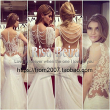 free shipping vestido de noiva bridal gown 2014 new hot sexy casamento tulle backless pearls romantic lace mermaid wedding Dress