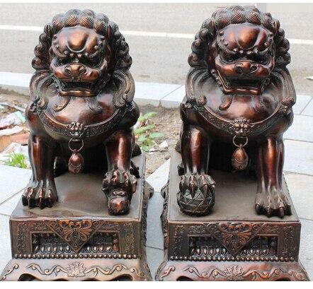 23Chinese Folk Bronze Foo Dog Door Gate Lion Leo Kid Ball Animal Pair Statue wedding Brass Fine Arts Crafts decoration