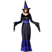 Umorden Blue Black Womens Glamorous Witch Costume Long Fancy Dress Halloween Carnival Purim Party Cosplay Costumes