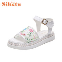 Jaycosin Elegance New Women Sandals Lace Flower Summer Slip On Flats Sandals Casual Ladies Shoes 17May03