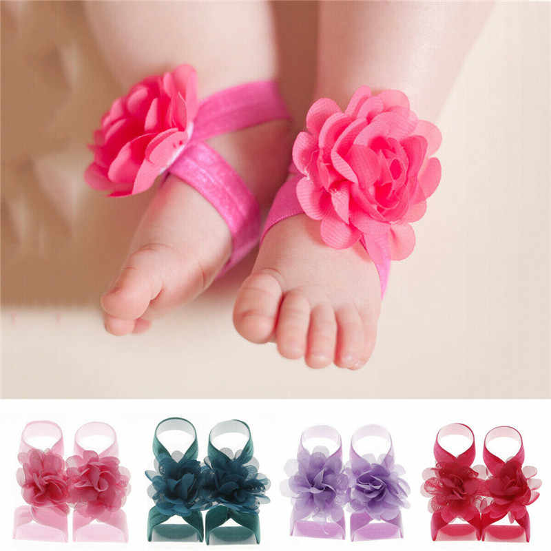 2019 Newborn Baby Girls Wrist Flower Foot Band Barefoot Sandals Shoes Summer Bandage Floral Foot Bands Bebe Kids Cute Photo Prop