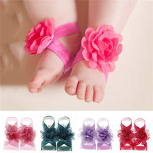 2019 Newborn Baby Girls Wrist Flower Foot Band Barefoot Sandals Shoes Summer Bandage Floral Foot Bands Bebe Kids Cute Photo Prop(China)