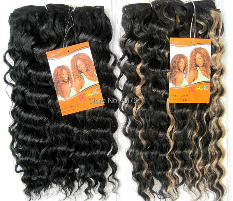 Sythetic Deep Weave Hair Weaving Magic Noble Gold Hair Extensions