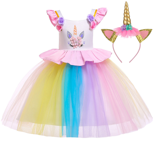 004bad20d4214 2019 Christmas Dress Unicorn Dress Kids Dresses For Girls Baby Girl Clothes  Wedding Party Carnival Costume Princess Dress 5 Year