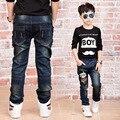 Новогодний подарок, джинсы мальчик для детей носить модный стиль и высокое качество дети джинсы, мальчик дети рваные джинсы