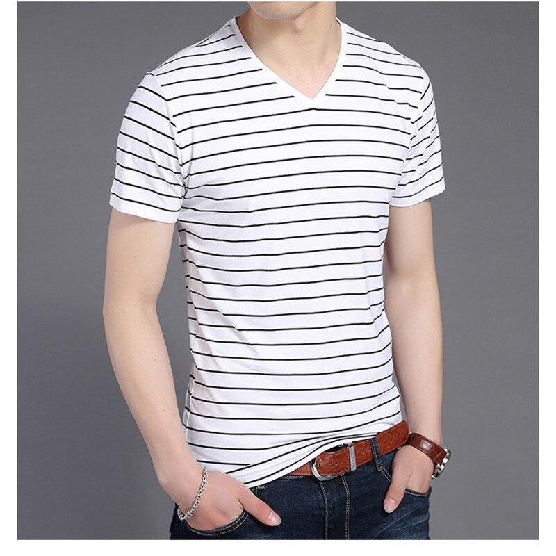 Liseaven New Men V Neck Striped T-shirt Short Sleeve tshirt Fashion Men's tees Clothing 3