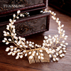 Vintage Gold Wedding Hair Accessories Pearl Bridal Hair Combs Handmade Hair Jewelry For Wedding Women Headdress