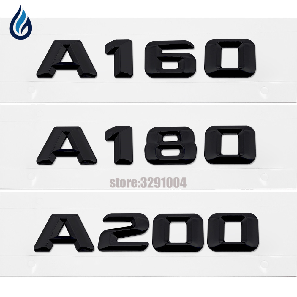 Black Plastic A 160 A 180 A 200 Rear Trunk Lid Emblem Letter Sticker For Mercedes Benz A Class W168 W169 W176 A180 A200 A200 specially customized car floor mats for mercedes benz w169 w176 a class a160 a80 a200 a220 a250 a260 anti slip carpet 2004 now