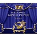 Изготовленный на заказ Королевский синий и золотой принц тематическая Корона занавески фон Высокое качество компьютерная печать Вечеринк...