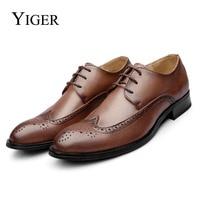 YIGER NEW SpringAutumn Bullock Genuine Leather Brown Men Shoes British Lace Up Platform Fashion Man Flats