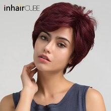 """ESIN Женский короткий парик 70% натуральных/30% синтетических волос Стильная короткая """"рваная"""" стрижка Короткая челка,естественная линия у висков"""