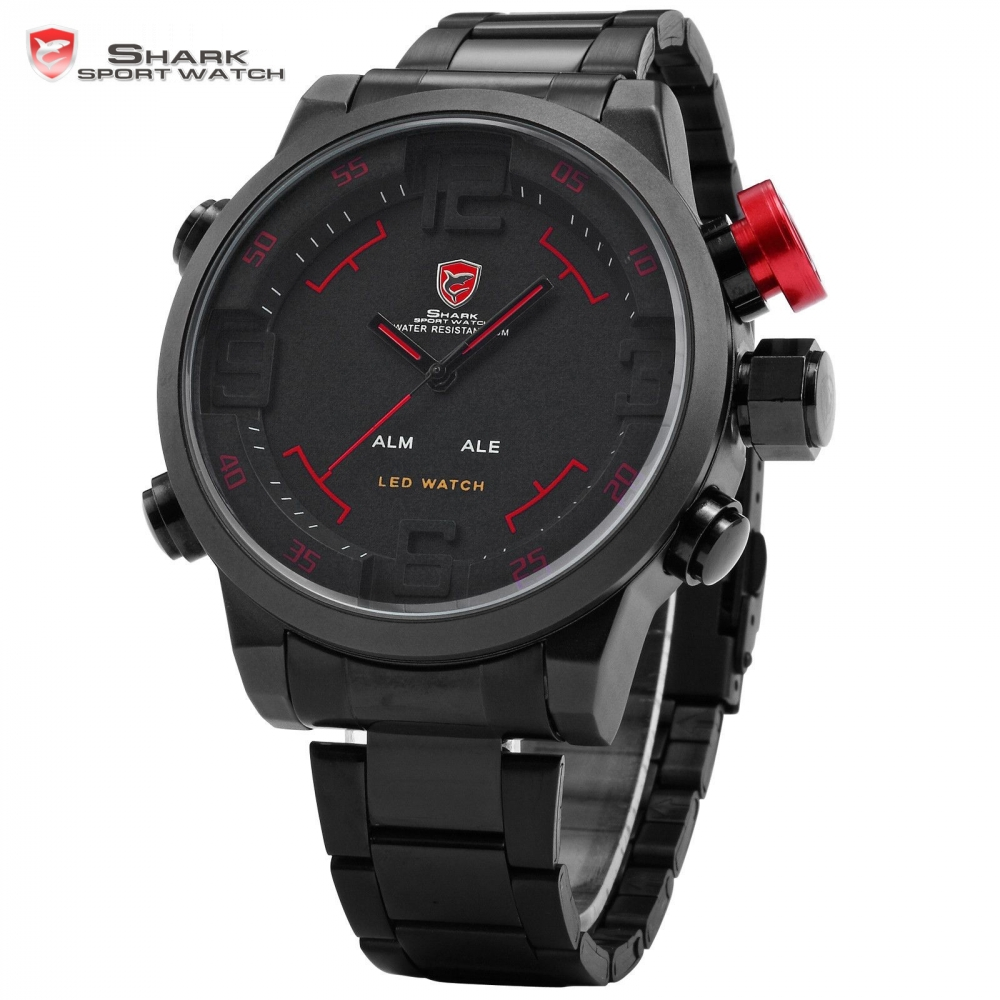 aliexpress com buy gulper shark sport watch series digital led aliexpress com buy gulper shark sport watch series digital led stainless full steel black red date day alarm men s quartz military watches sh105 from