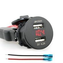 Alta Calidad 12 V 4.2A Dual USB Cargador de Coche panel de interruptores Socket Voltaje Voltímetro Motocicleta Barco Rojo para coche
