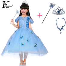 New Cinderella Princess Girl Dress Kids Christmas Dresses Costume For Girls Party Crown + Necklace Fantasia Dress Kids Clothes