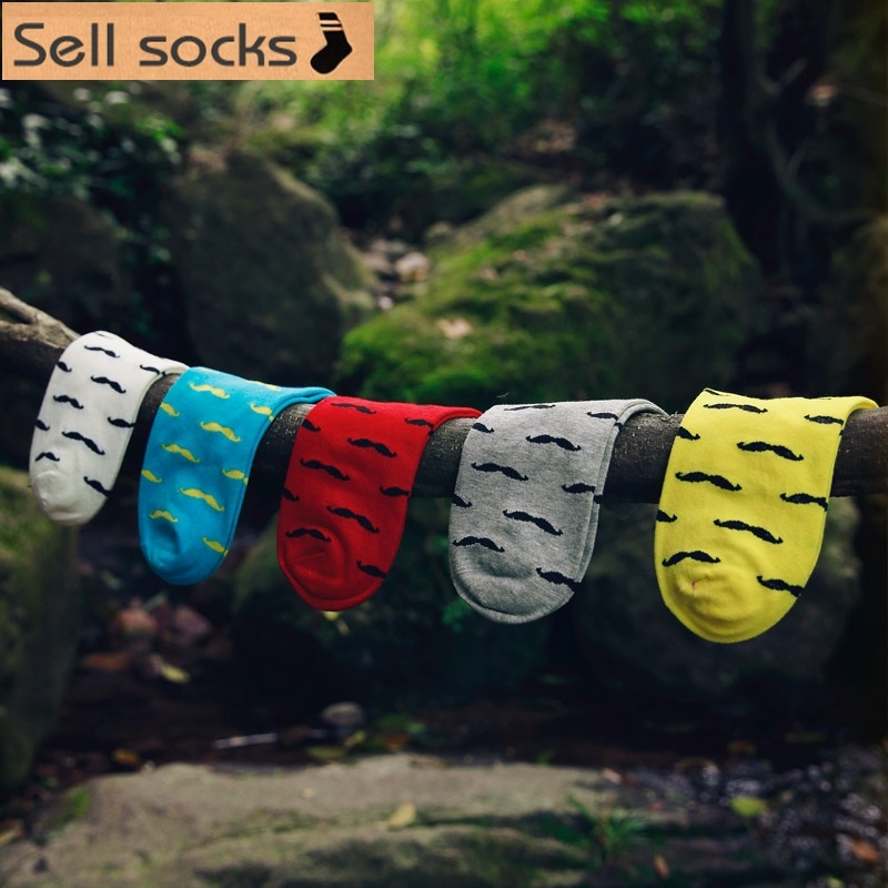 Clearance! New Summer Mustache Pattern Red Yellow Blue Man Casual Ankle Cotton Socks Men Boat Sock Slippers Harajuku EUR39-44