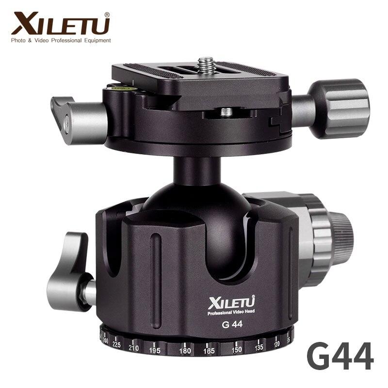XILETU G-44 Caméra En Alliage D'aluminium trépied à tête sphérique 360 Degrés Panorama Rotule avec Quick Release Plate pour ARCA-SWISS