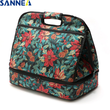 SANNE Double-layer pizza Thermal Insulated Lunch Bag Outdoor portable lunch bag Refrigerated fresh-keeping