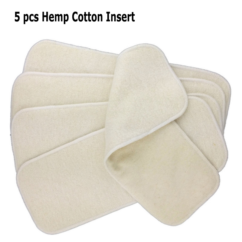 5pcs/lot Hemp Organic Cotton Inserts 4 Layers  Cloth Diapers Nappy Liners Reusable Baby Diapers Hemp Insert