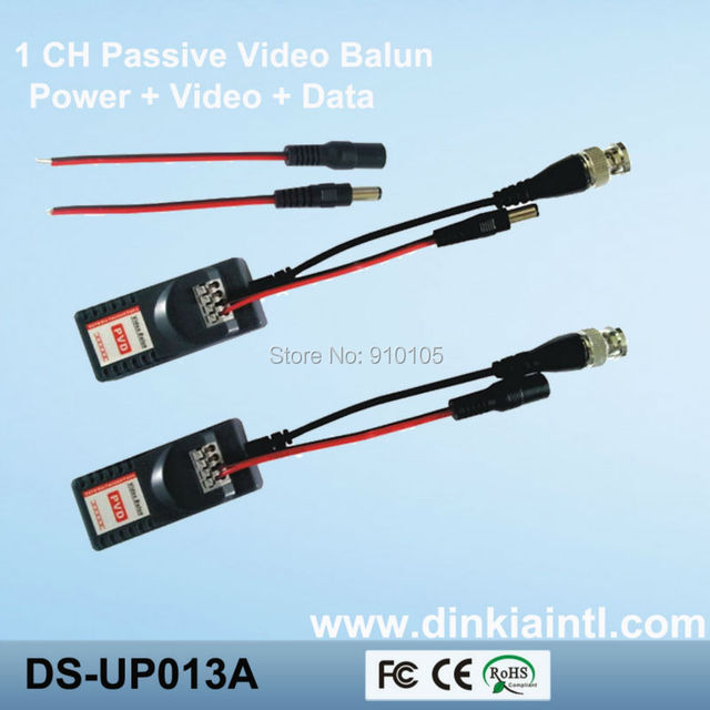 Free shipping twisted 1ch balun power passive video transceiver,power-video-data signal are routed via UTP & RJ45,     DS-UP013A