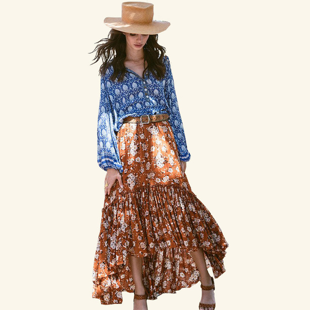2017 new hot women skirts flower printing bohemian holiday skirts pleated sweet long skirts beach boho style printing skirt