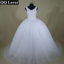 QQ Lover 2017 New Bling Bling Shining Crystals Tank Ball Gown Wedding Dress Custom-made Bridal Gown Robe De Mariage