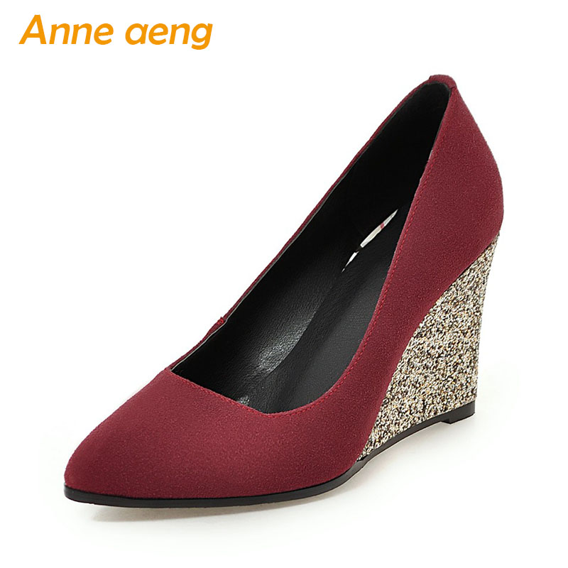 Spring/Autumn Women Cow Suede Shoes Pointed Toe High Wedge Heel Shoes Bling Fashion Sexy Ladies Shoes Red Women Pumps Big Size free shipping high heel wedge shoes women sexy dress footwear fashion pumps p10767 eur size 34 43