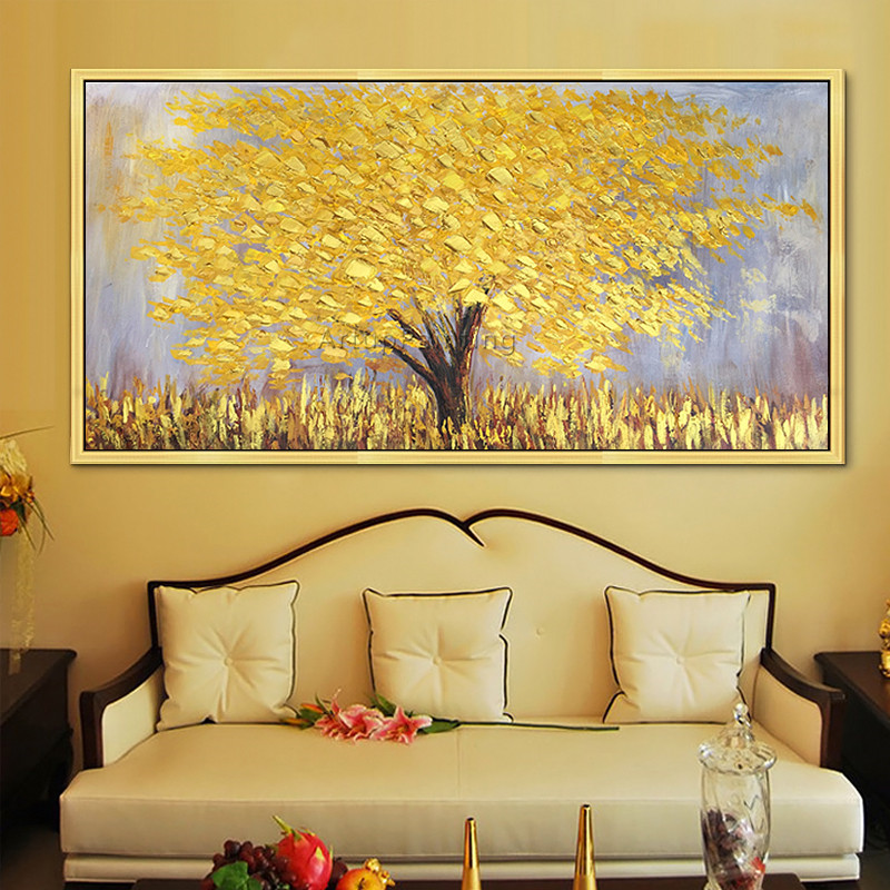 Modern Hand Painted palette knife 3D texture Flower and Tree on Canvas Oil  Painting Wall Art Pictures For Living Room decorative