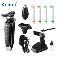 Kemei 5181 4 in 1 3D Floating Rechargeable Electric Shaver 4 Blades Washable Electric Shaving Razors Multifunction Men Face Care