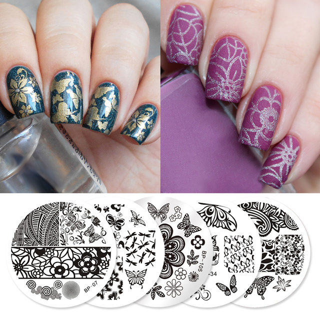 BORN PRETTY 5Pcs Butterfly Stamping Plate Stencil Dragonfly Flower Round Nail  Art Image Template Manicure Stencils - BORN PRETTY 5Pcs Butterfly Stamping Plate Stencil Dragonfly Flower