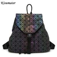 Kisumater Luminous Backpack Diamond Lattice Bag Travel Women Geometric Bag Teenage Girl School Noctilucent Backpack