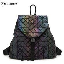 Kisumater световой рюкзак Для женщин рюкзак геометрический решетки мешок школы Серебристые Bao сумка Бесплатная доставка BAOBAO рюкзак
