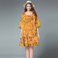 Women Spring Summer Vintage Chiffon Bright Flowers Bird Print Dress Half Sleeve Loose Dress Women Retro