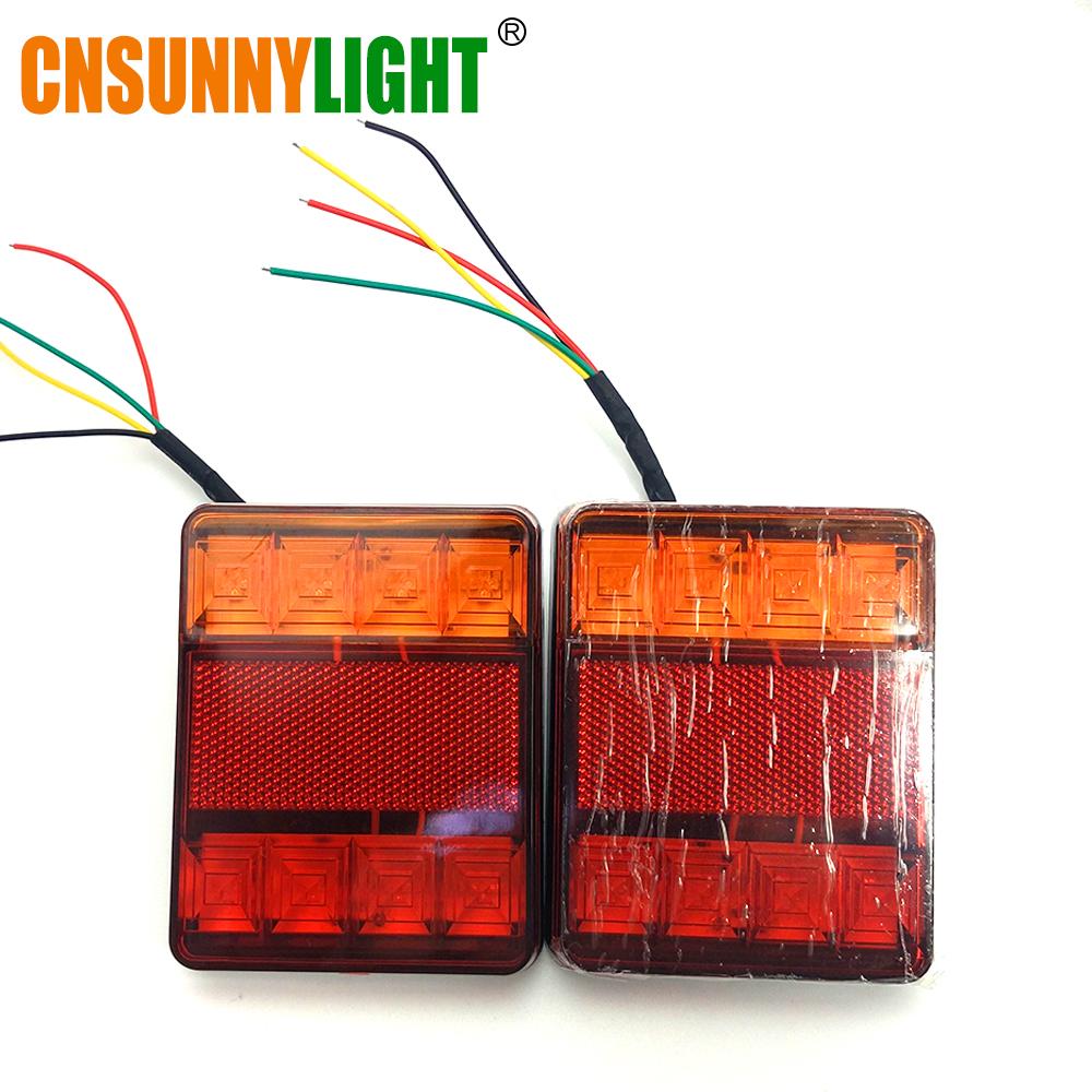 CNSUNNYLIGHT Car Truck Rear Tail Light Warning Lights Rear Lamps Waterproof Tailight Rear Parts for Trailer Caravans DC 12V 24V (8)