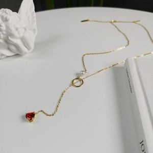Image 2 - 925 Sterling Silver 18k Gold Necklace for Women With Pearl Y Drop Necklace Heart Drop Pendant Red Ruby CZ Zircon Lariat Necklace
