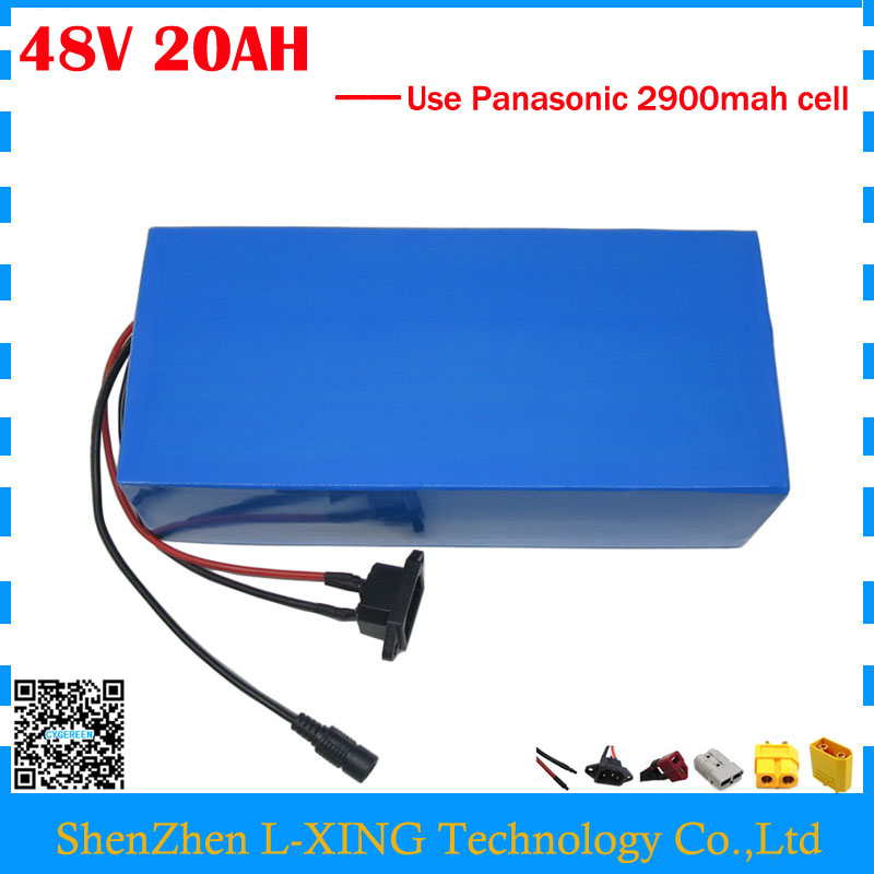 Free customs duty 1000W 48V ebike battery 48V 20AH Lithium ion battery use Panasonic 2900mah cell 30A BMS with 54.6V 2A Charger free shipping customs duty hailong battery 48v 10ah lithium ion battery pack 48 volts battery for electric bike with charger