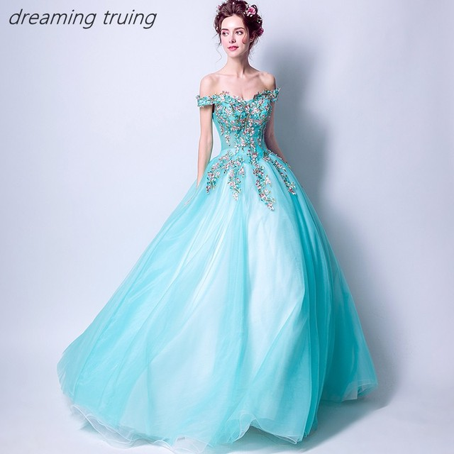66df582d8b82 Charming Water Blue Quinceaneras Dress Embroidery Vestidos De 15 Anos  Dresses Party Ball Gown Girl Sweet 16 Dresses Robe De Bal