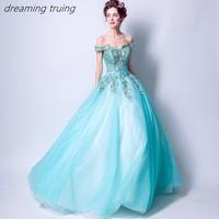Charming Water Blue Quinceaneras Dress Embroidery Vestidos De 15 Anos Dresses Party Ball Gown Girl Sweet 16 Dresses Robe De Bal