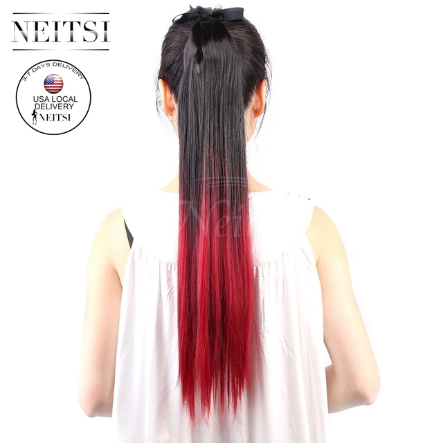 Neitsi Ombre Pony Tail Wrap Hair Extensions 22 Straight Synthetic