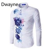 Hot Nieuwe Zomer mannen Shirt Buitenlandse Handel Shirt Platform Voor heren Digitale Printing Shirt Gradiënt Lange Mouwen Slanke Casual Shirt