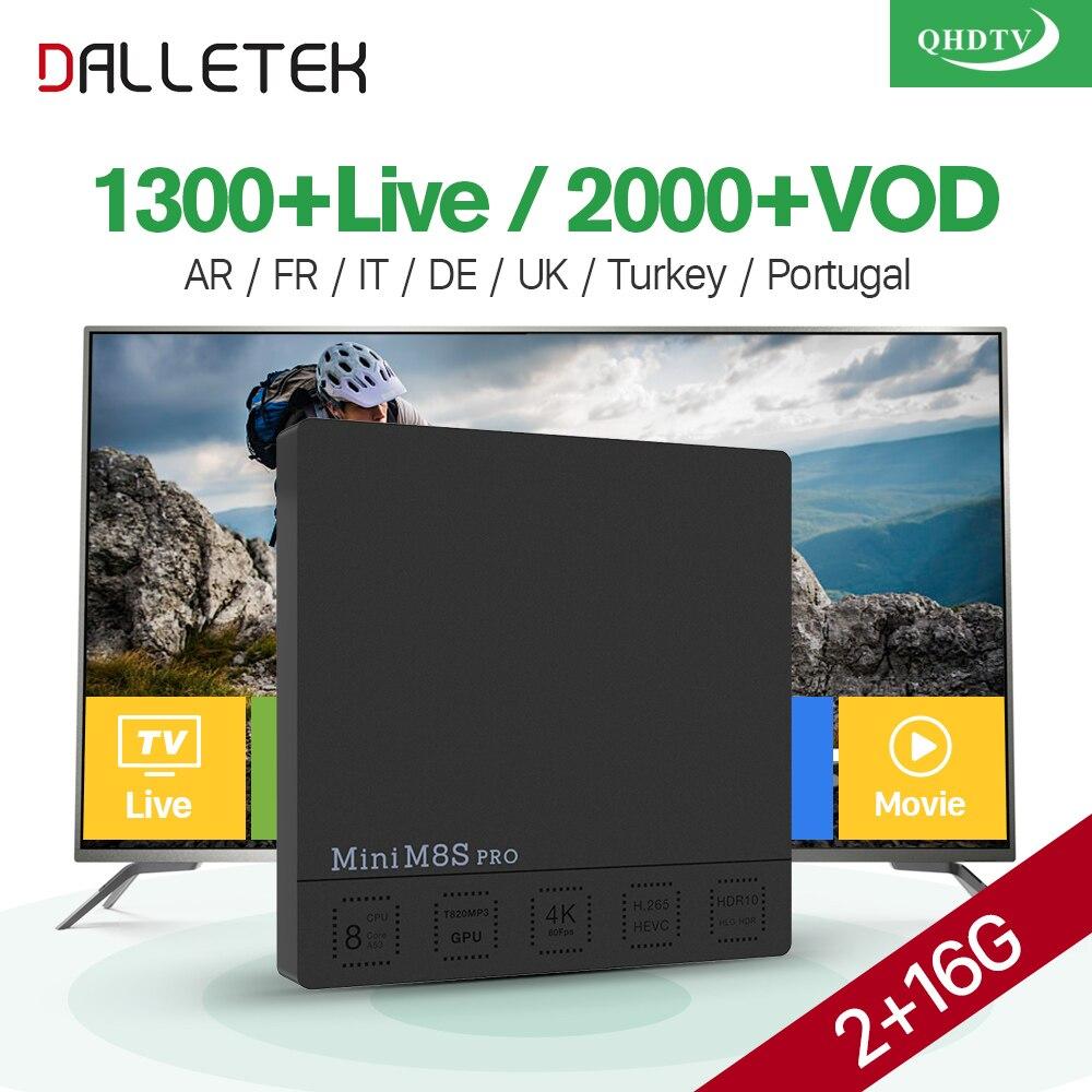 French IPTV Box Mini M8S Pro Android 7.1 2G+16G with 1 Year QHDTV IPTV Arabic France Dutch Belgium IPTV Subscription VOD Movies iptv evpad pro